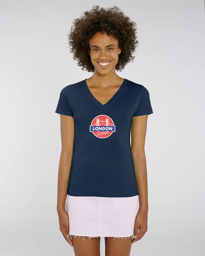 T-shirt-bleu-femme-v-tower-bridge