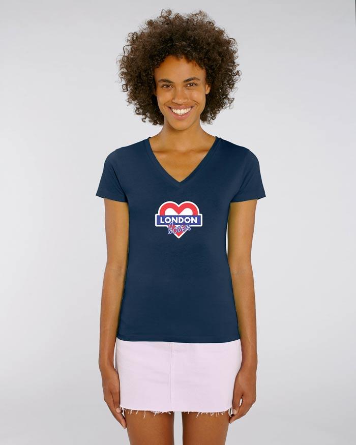 T-shirt-femme-v-bleu-london-love