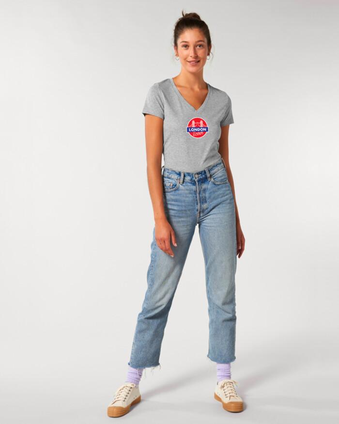 T-shirt-femme-v-gris-tower-bridge