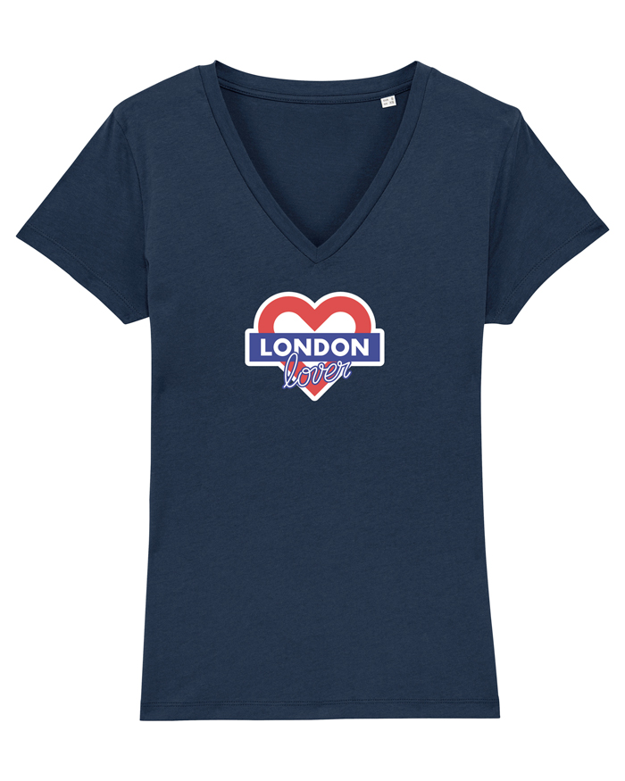 T-shirt-v-femme-bleu-london-love
