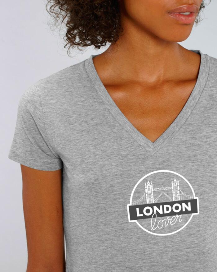 T-shirt-v-gris-femme-tower-bridge